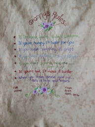 Dorothy's completed stitched piece for her granddaughter. We have watched this work evolve, it's lovely.