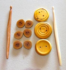 Jude's wood craft - bone crochet hooks, native cherry wood buttons and huon pine buttons - great work.